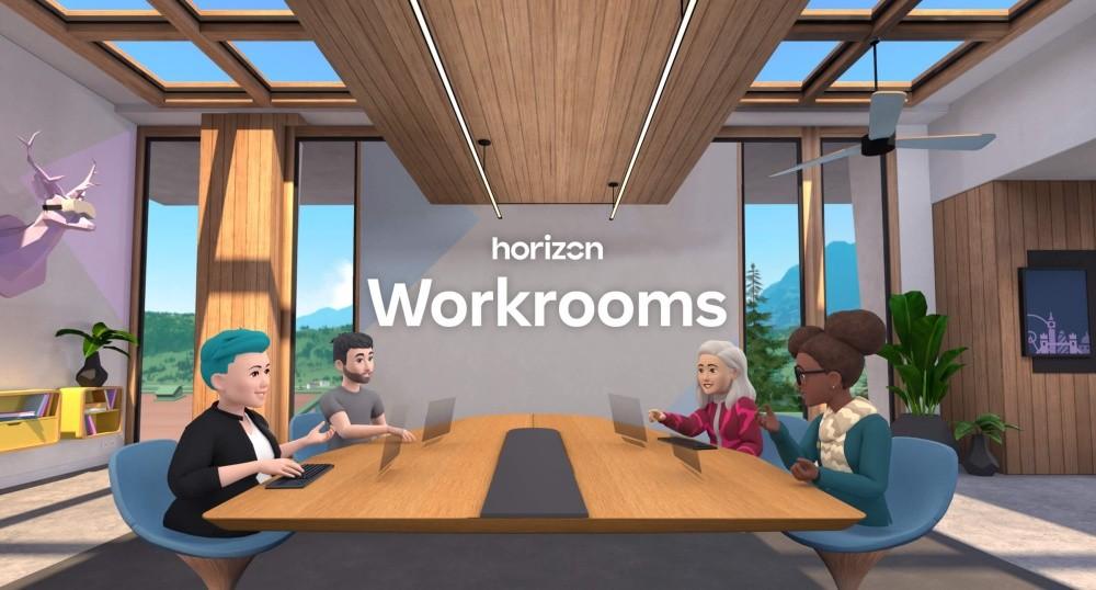 照片中提到了horizon、Workrooms,跟辦公用品有關,包含了室內設計、虛擬現實、虛擬現實耳機、虛擬YouTuber、Oculus任務