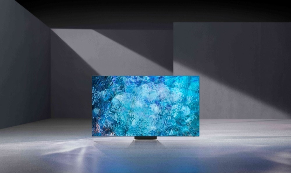 照片中包含了綠松石、微型LED、電視機、量子點顯示、CES 2021