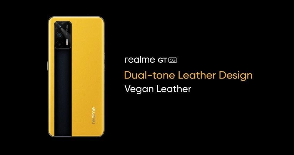 照片中提到了гealme Gт а、Dual-tone Leather Design、Vegan Leather,跟紅線通訊有關,包含了Realme、手機、MWC上海2021、移動電話、巴塞羅那世界移動大會
