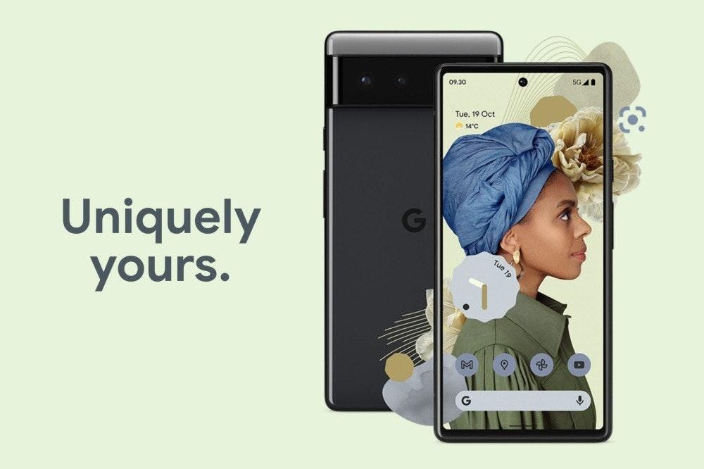 照片中提到了5G A、09.30、Tue, 19 Oct,包含了谷歌像素 6 專業版、像素5、Google Pixel 4a(5G)、谷歌、15 厘米