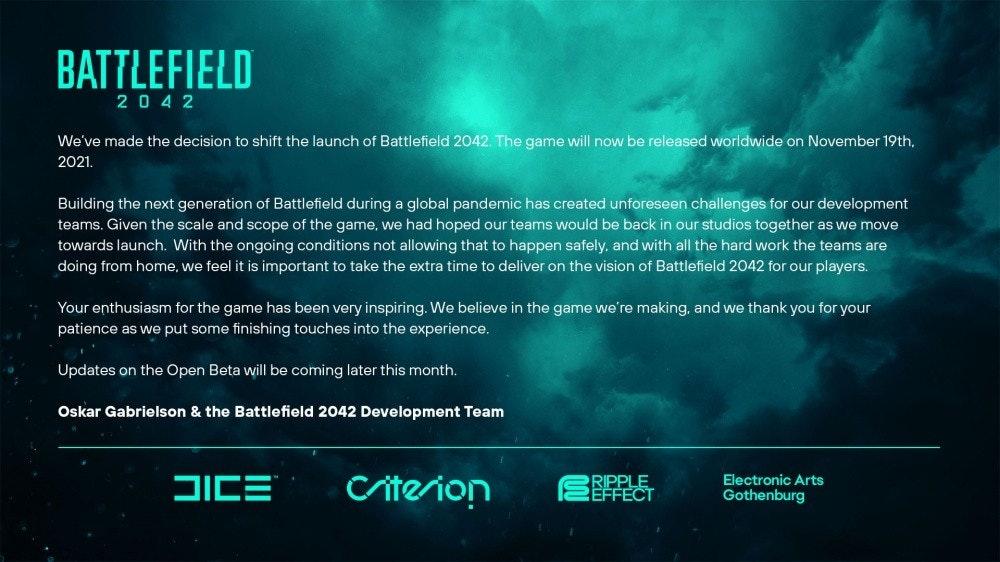 照片中提到了BATTLEFIELD、2042、We've made the decision to shift the launch of Battlefield 2042. The game will now be released worldwide on November 19th,,跟標準遊戲、戰場有關,包含了戰地3、戰地2042、戰地3、電子藝術、骰子