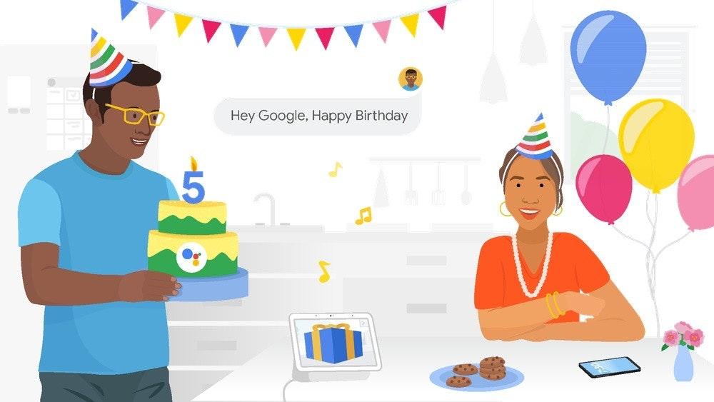 照片中提到了Hey Google, Happy Birthday,包含了動畫片、QNewsCrunch、谷歌、人的、Google助手