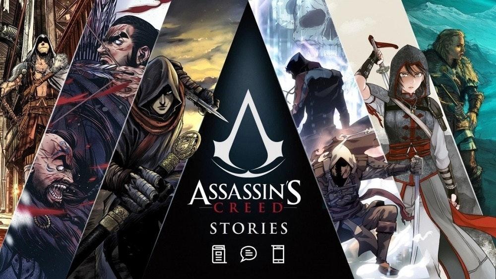 照片中提到了ASSASSINS、CREED-、STORIES,跟阿奎那學院有關,包含了刺客信條:海盜、刺客信條、刺客信條瓦爾哈拉、刺客信條辛迪加、刺客信條IV:黑旗