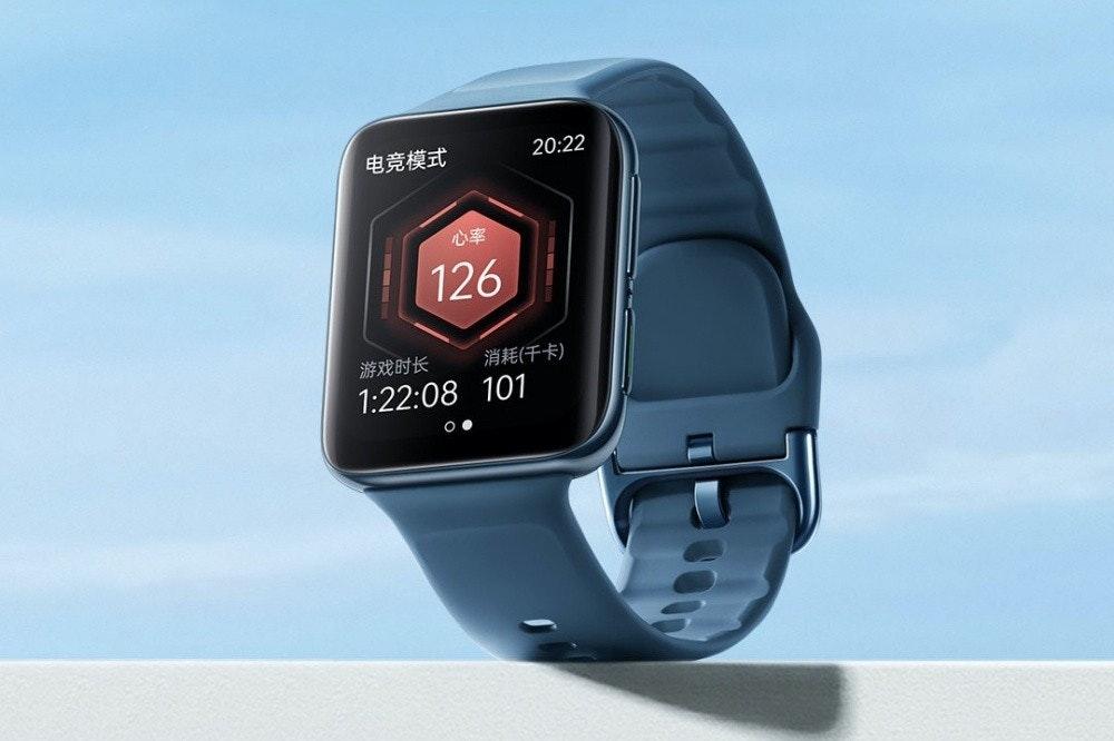 照片中提到了电竞模式、20:22、心率,包含了看、OPPO手錶、蘋果手錶、移動電話、高通金魚草