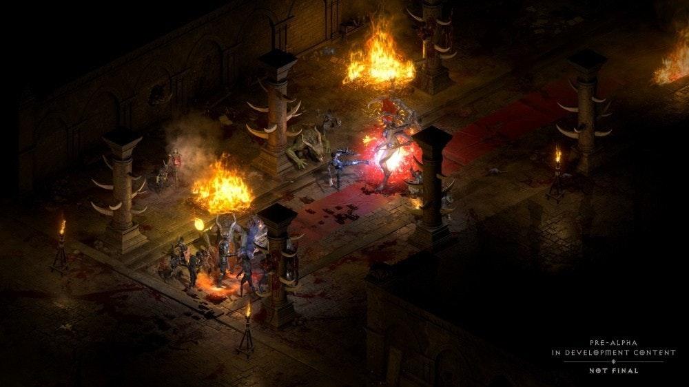 照片中提到了PRE-ALPHA、IN DEVELOPMENT CONTENT、NOT FINAL,包含了暗黑破壞神II、暗黑破壞神II:毀滅之王、暗黑破壞神、BlizzConline、暴雪娛樂