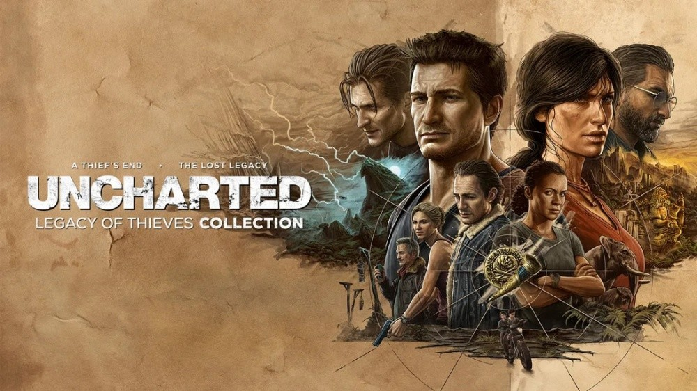 照片中提到了A THIEF'S END、THE LOST LEGACY、UNCHARTED,跟的PlayStation有關,包含了神秘海域:失落的遺產、神秘海域:失落的遺產、神秘海域4:盜賊末路、未知:內森·德雷克(Nathan Drake)收藏、克洛伊弗雷澤