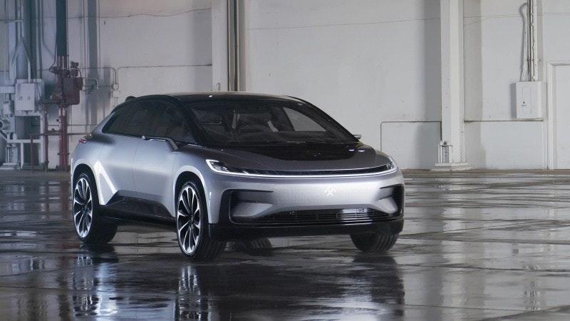 照片中包含了法拉第未來車、電動車、法拉第未來FF 91、汽車、特斯拉公司