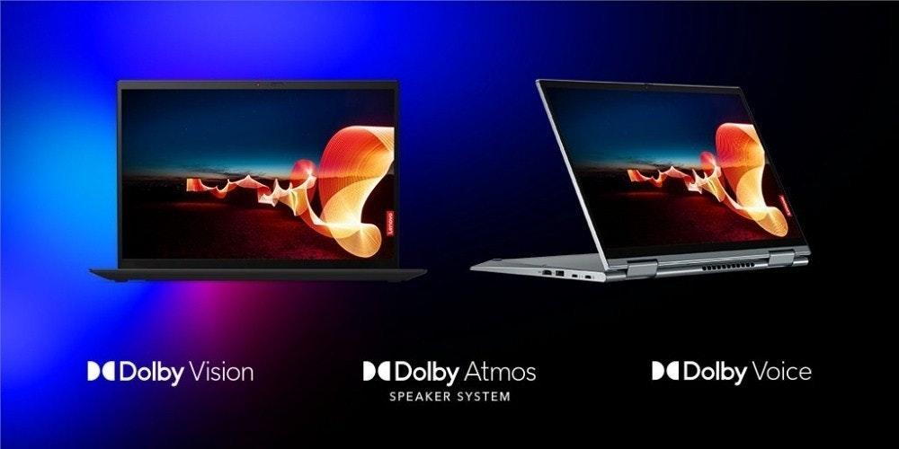 照片中提到了DODolby Vision、DODolby Atmos、DODolby Voice,跟HMV、創意技術有關,包含了熱、聯想、電腦顯示器、電腦、聯想