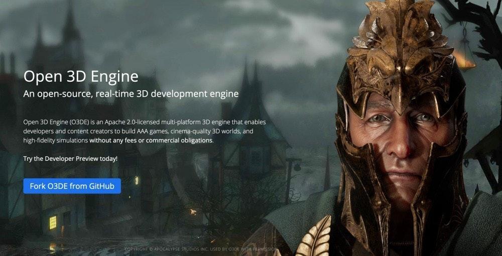 照片中提到了Open 3D Engine、An open-source, real-time 3D development engine、Open 3D Engine (O3DE) is an Apache 2.0-licensed multi-platform 3D engine that enables,包含了電影、電腦、屏幕截圖、牆紙、中號