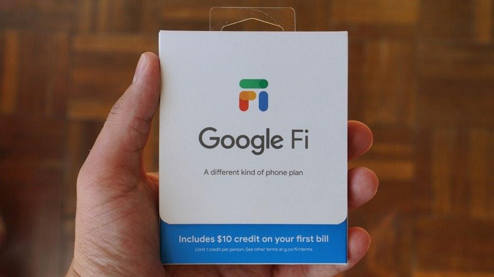 照片中提到了Google Fi、A different kind of phone plan、Includes $10 credit on your first bill,跟店鋪保管有關,包含了Google Fi、像素5、Google Fi、谷歌、移動虛擬網絡運營商
