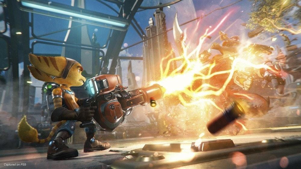 照片中提到了Captured on PS5,包含了棘齒和裂分開、棘輪與叮噹聲:裂谷、棘輪與叮噹聲:進入Nexus、棘輪和叮噹聲、的PlayStation 5