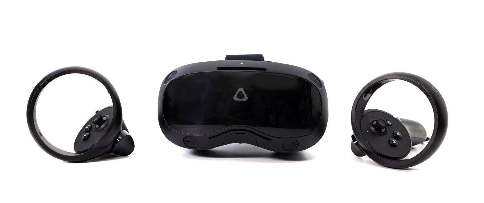 照片中包含了頭戴式耳機、虛擬現實、頭戴式耳機、HTC Vive 焦點 3、耳機