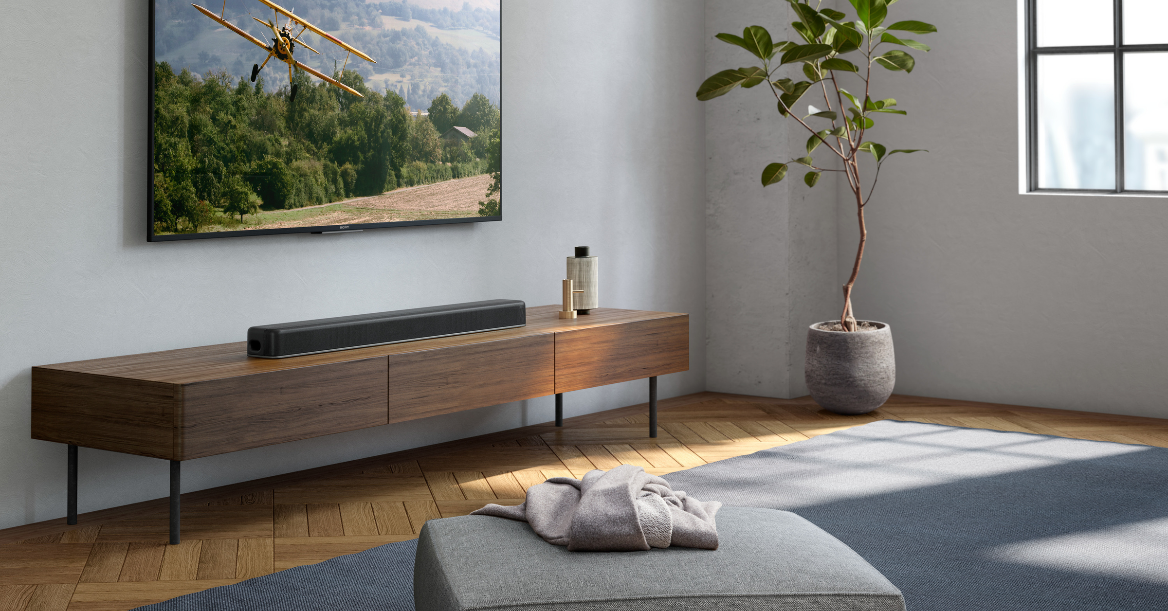 Sound, Ultra HD Blu-ray, Soundbar, Home Theater Systems, Dolby Atmos, Sony X8500, , Sony Corporation, Surround sound, Loudspeaker, ht x8500 dolby atmos single soundbar, Furniture, Room, Interior design, Property, Floor, Living room, Wall, Table, Wood, Tree