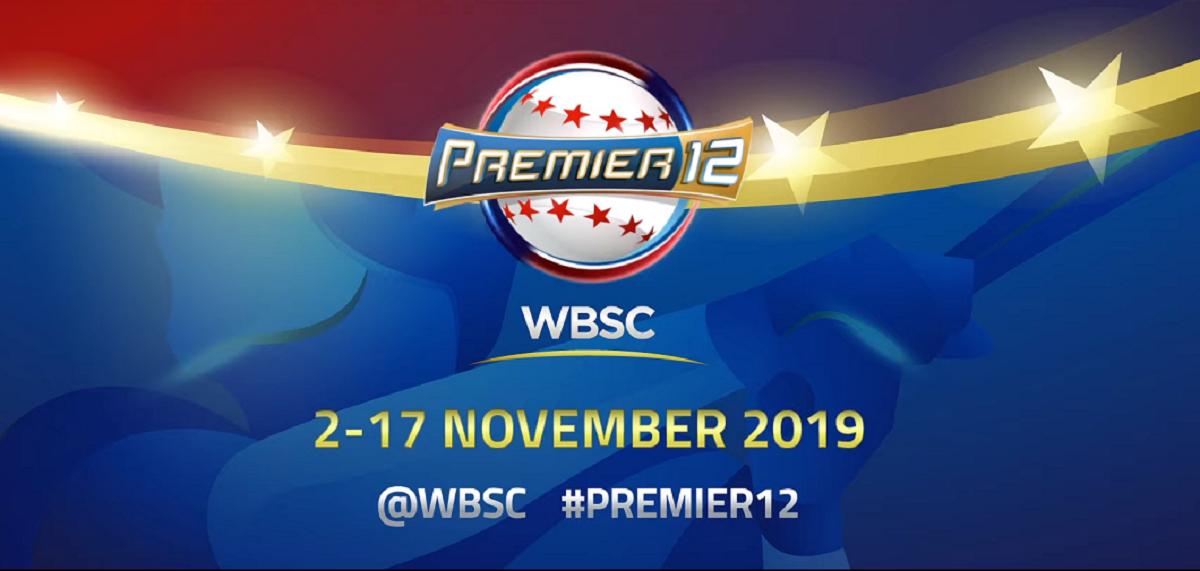 照片中提到了PREMIERI2、WBSC、2-17 NOVEMBER 2019,包含了wbsc premier12、2019 WBSC Premier12、世界棒球經典賽、世界棒球壘球聯合會、棒球