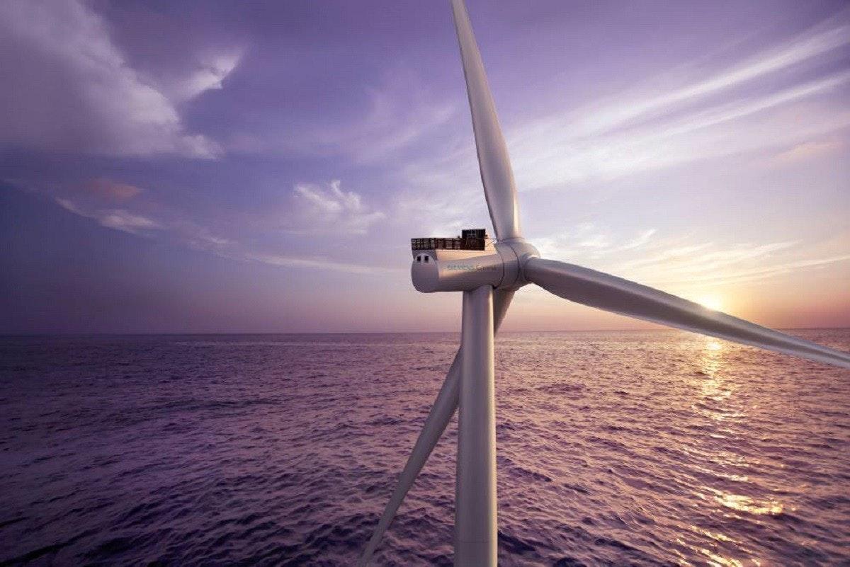 Wind farm, Offshore wind power, , Siemens Gamesa, Wind turbine, Wind power, Ørsted, Megawatt, Turbine, Renewable energy, siemens gamesa offshore, Wind turbine, Sky, Wind farm, Wind, Water, Windmill, Calm, Sea, Atmosphere, Horizon