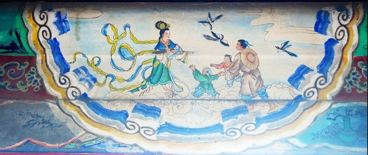 照片中包含了頤和園北京長廊織女、長廊、圓明園、牛郎織女、七夕節