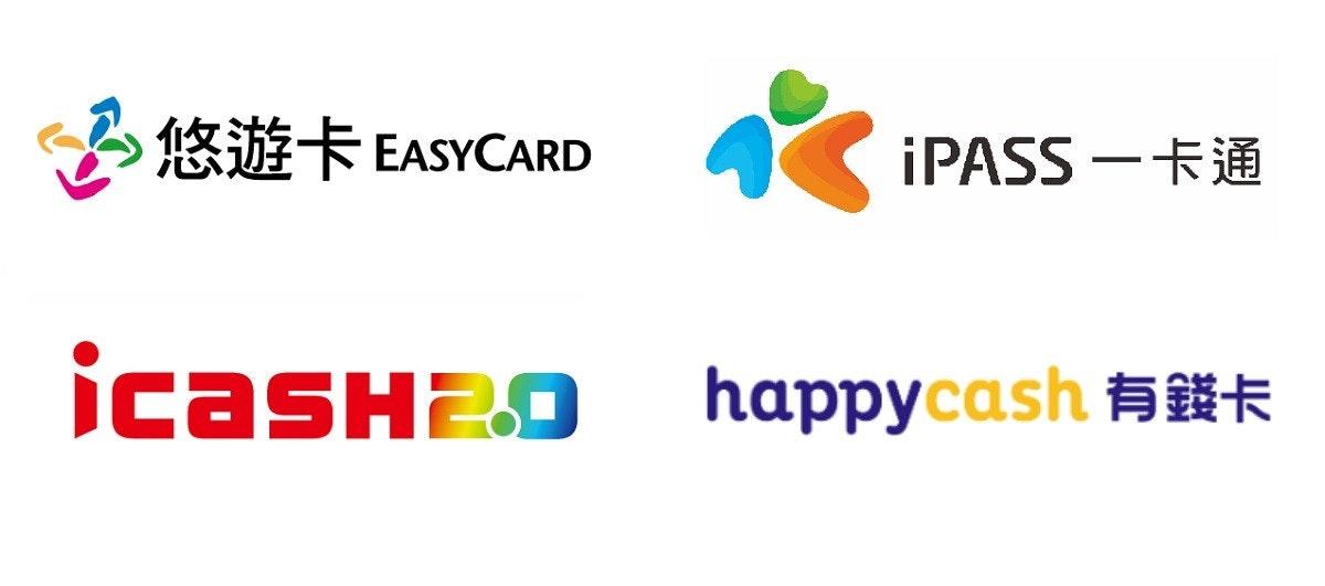 照片中提到了悠遊卡EASYCARD、IPASS -FE、icasH29 happycash #*,跟我通過有關,包含了圖、商標、牌、產品設計、剪貼畫