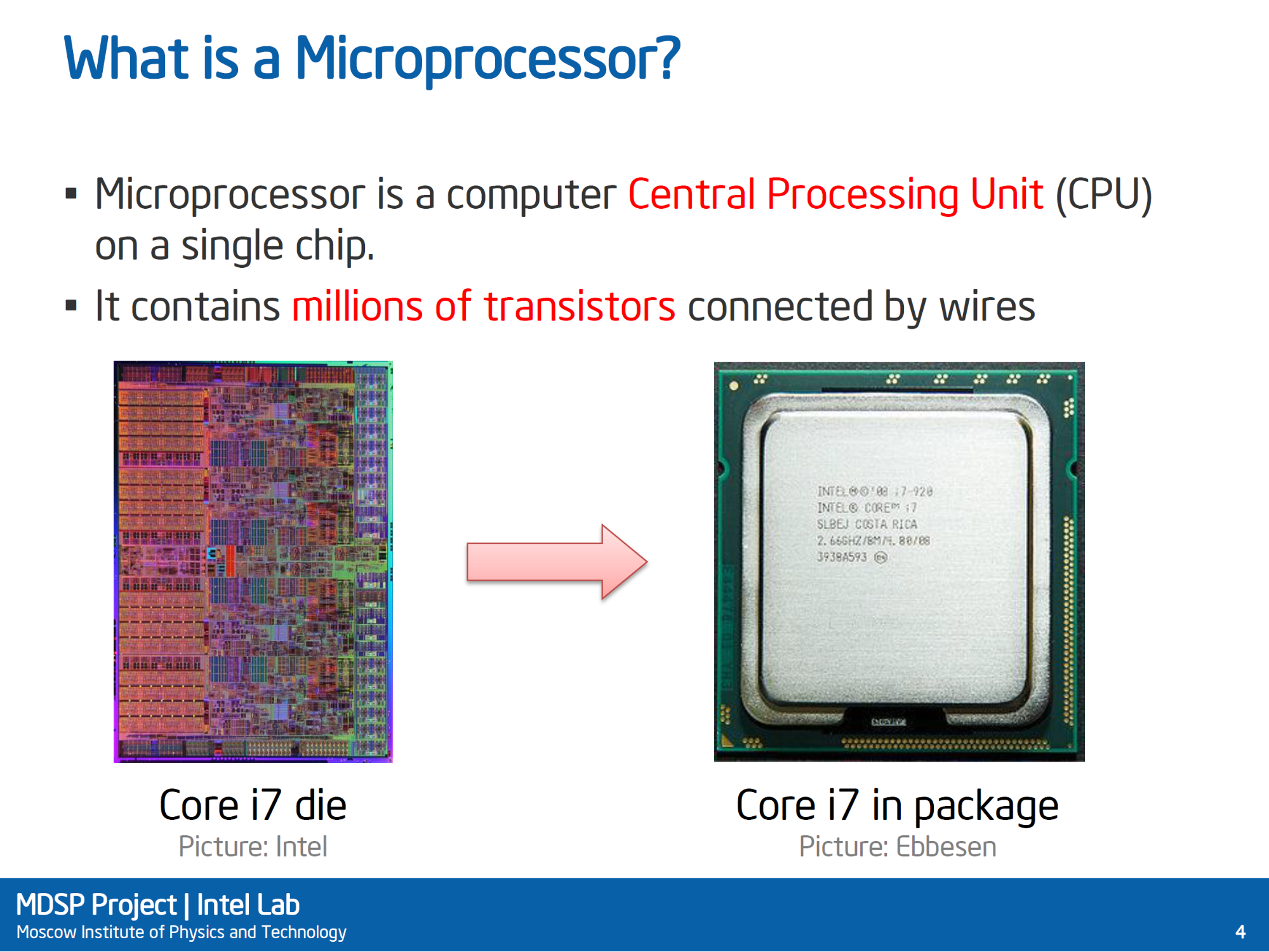 照片中提到了What is a Microprocessor?、Microprocessor is a computer Central Processing Unit (CPU)、on a single chip.,包含了電腦、微處理器、線、產品、儀表