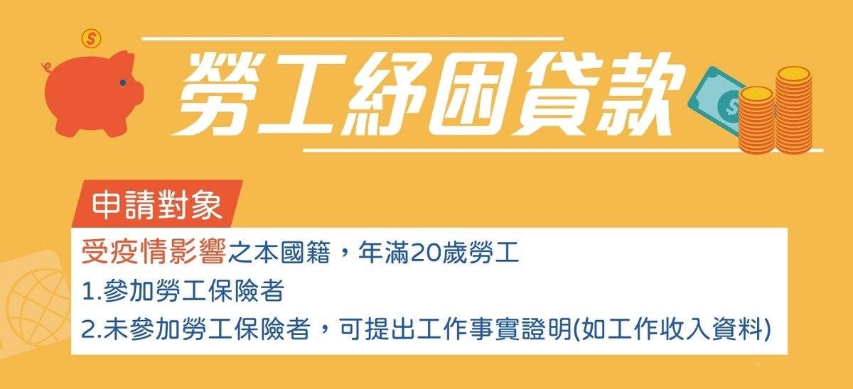 照片中提到了勞工紓困貸款。、le、申請對象,包含了照片、台北市園藝花卉業職業工會、隔離、台北市電影戲劇業職業工會、貿易同盟