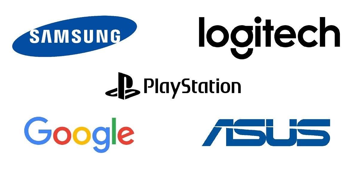 照片中提到了logitech、ŠAMSUNG、B PlayStation,跟G套房、華碩有關,包含了三星、商標、牌、產品、產品設計