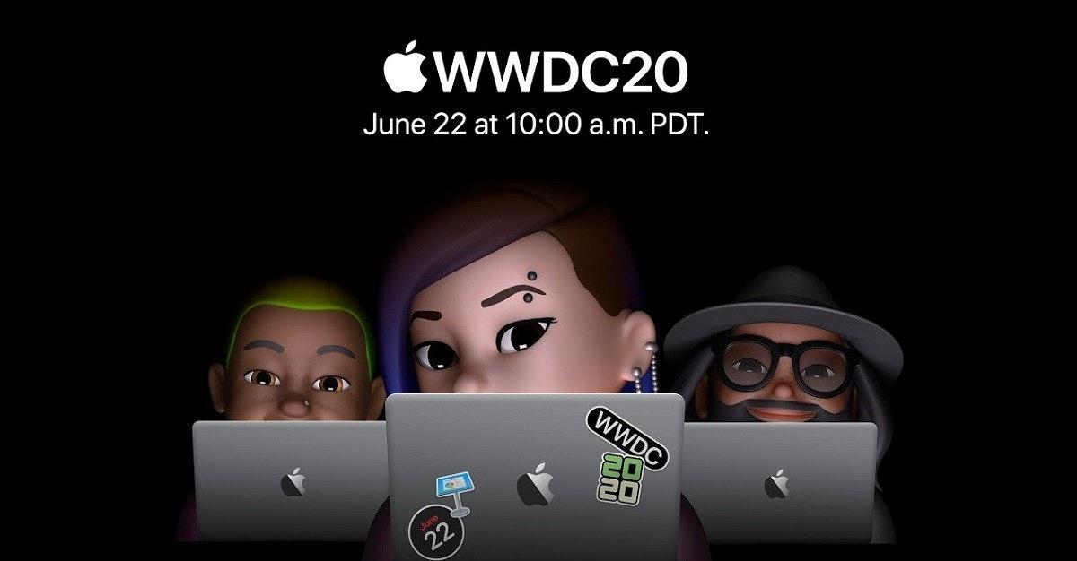 照片中提到了WWDC20、June 22 at 10:00 a.m. PDT.、WWDC,包含了蘋果全球開發者大會、蘋果全球開發者大會、蘋果、的iOS、蘋果機