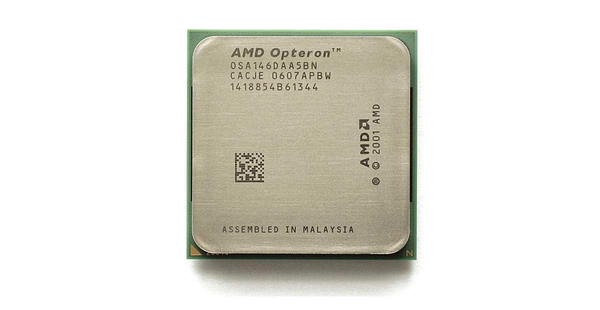 """照片中提到了AMD Opteron'""""、OSA 14 6DA A 5BN、CACJE 0607 APBW,包含了x86-64、32位計算、64位計算、x86、少量"""