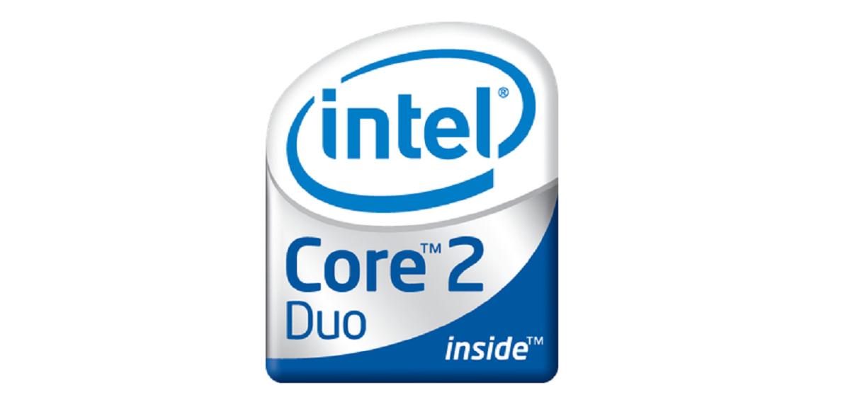 照片中提到了(intel、Core 2、Duo,跟英特爾有關,包含了電話技術、商標、牌、產品設計、商標