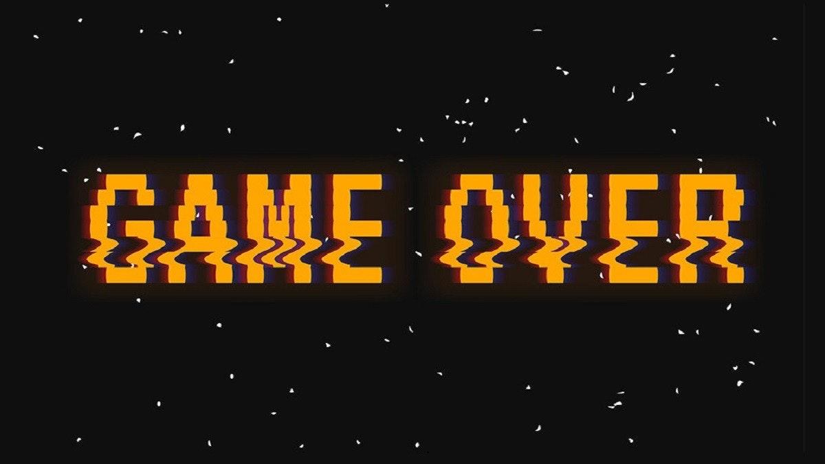 照片中提到了GAME OVER,包含了晚、平面設計、商標、字形、牌