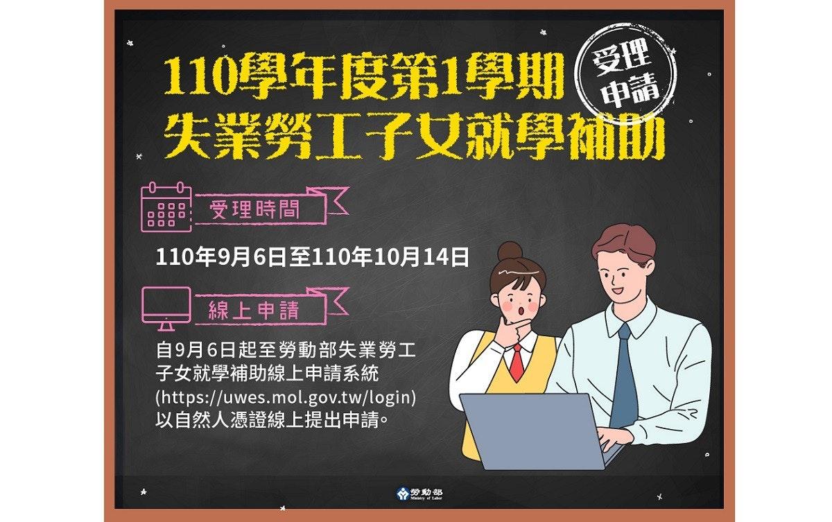 照片中提到了110學年度第1學期(、受理、失業勞工子女就學補前,包含了海報、工作、古拉布·錢德·卡塔里亞、雅虎!台灣、台北市