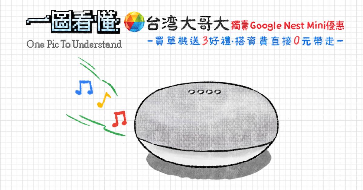 照片中提到了台湾大哥大獨壽 Google Nest Mini優惠、-買單機送3好禮-搭資 費 直接0元帶走一、One Pic To Understand,包含了台灣手機、產品、產品設計、台灣手機、字形