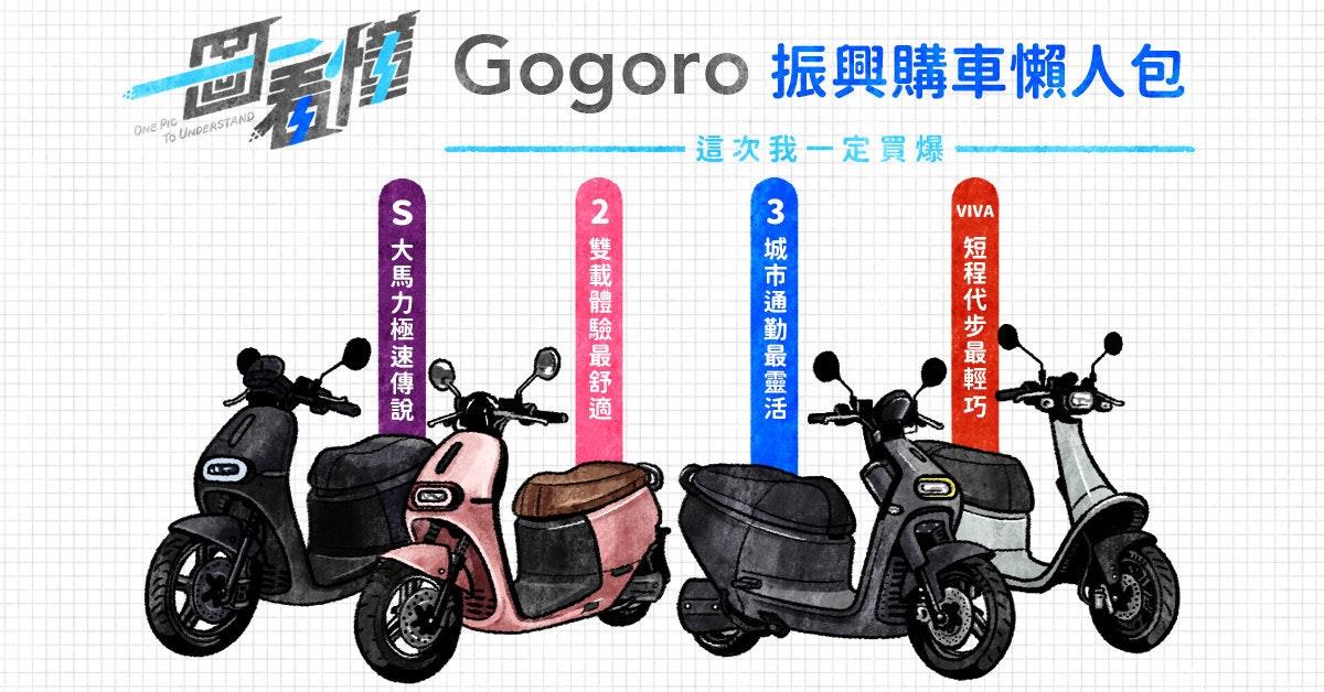 照片中提到了Gogoro振興購車懶人包、ONE PIC、To UNDERSTAND,跟五郎郎有關,包含了摩托車、摩托車、汽車、牌、產品設計
