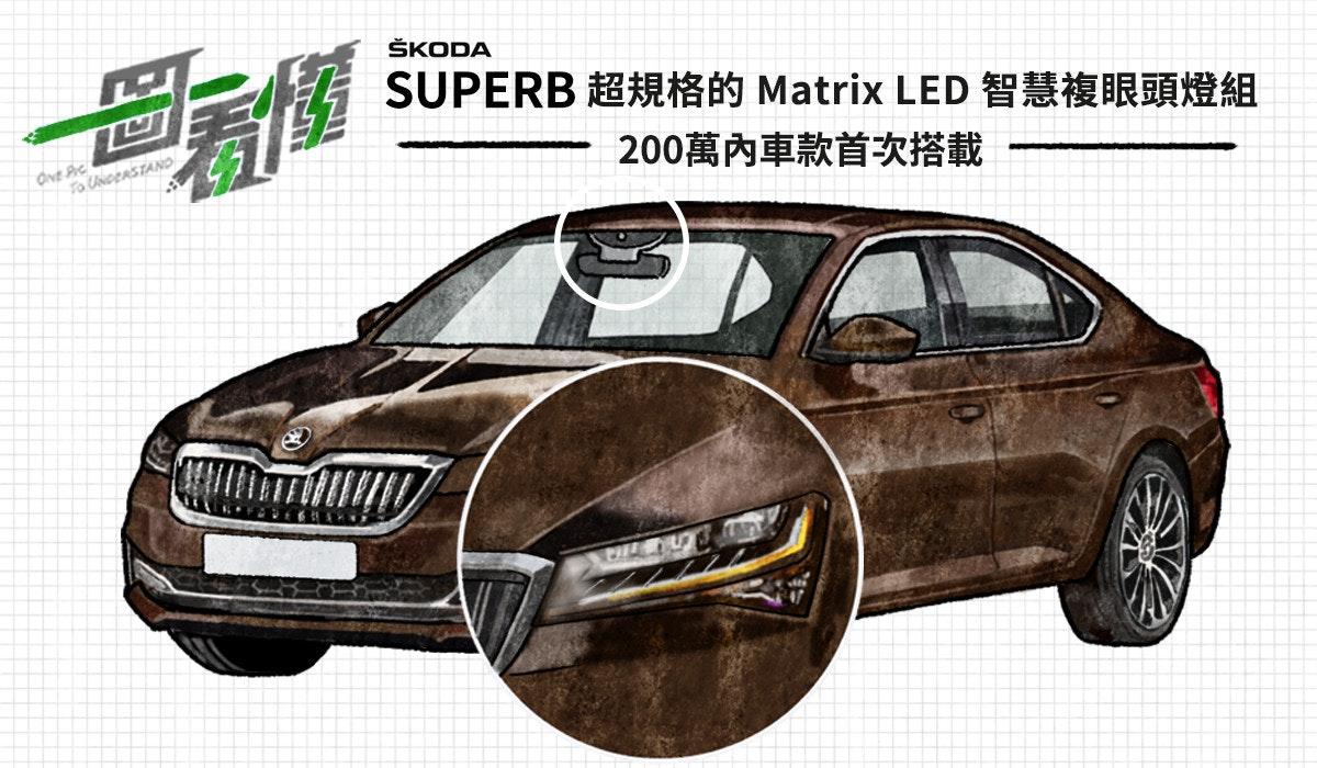 照片中提到了ŠKODA、SUPERB 超規格的Matrix LED 智慧複眼頭燈組、dve Pic,包含了草藥、中型車、汽車、緊湊型車、保險槓