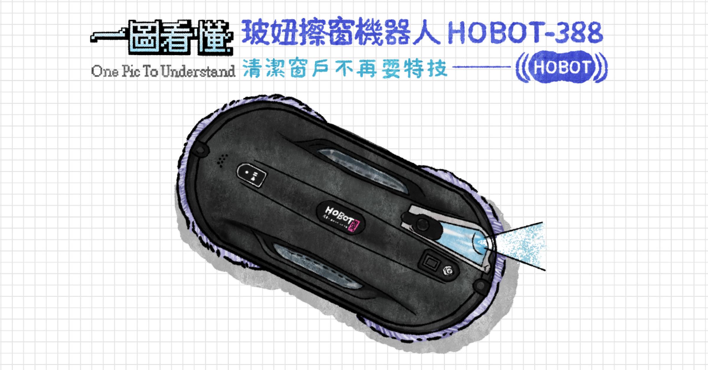 照片中提到了(((НОВОТ、一國着懂玻姆擦窗機器人HOBOT-388、One Pic To Understand 清潔窗戶不再要特技一,包含了時尚配飾、時尚配飾、產品設計、產品、牌