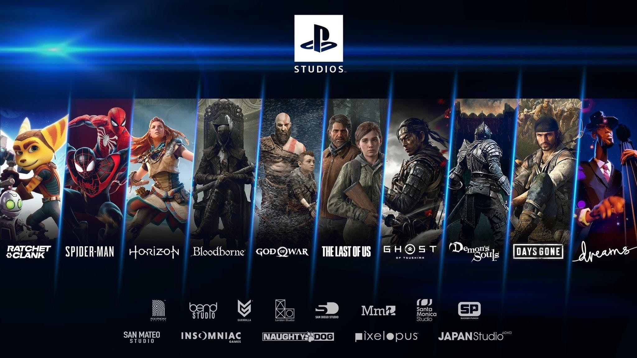 照片中提到了STUDIOS.、THE LAST OF US GHO ST Demonls DAYS GONE、dreams,跟索尼互動娛樂、靈魂有關,包含了遊戲機工作室、的PlayStation 5、的PlayStation 4、SIE全球工作室、退貨