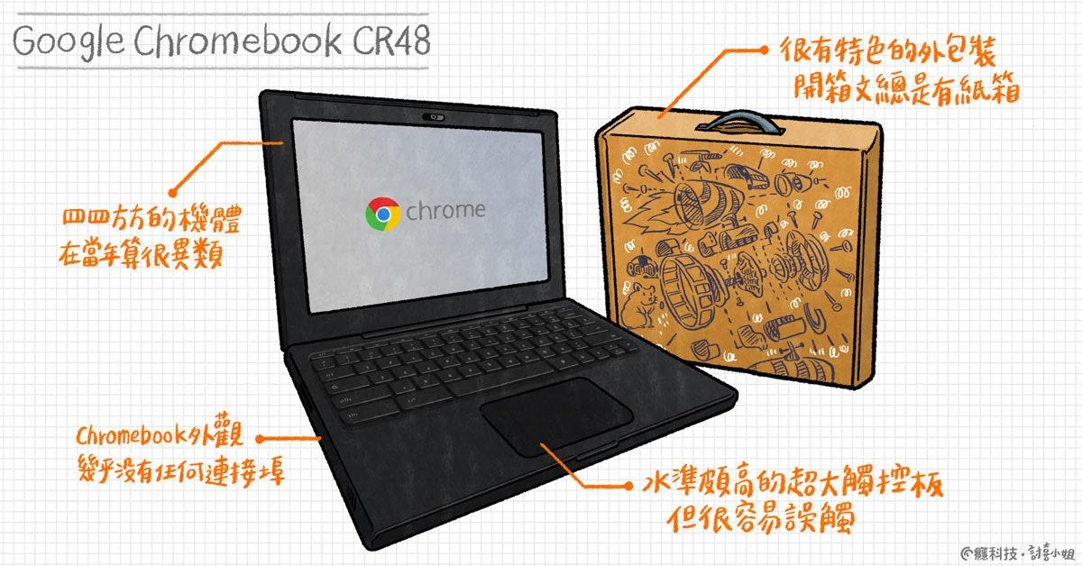 照片中提到了Google Chromebook CR48、很有特色的外包装、開箱文總是有紙箱,跟Chromecast有關,包含了筆記本電腦、筆記本電腦、產品設計、產品、設計