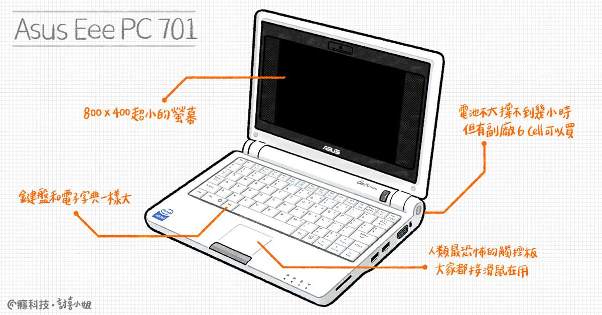 照片中提到了Asus Eee PC 701、電地不大撐不到幾小時、但有副廊6Call 以買,包含了上網本、上網本、輸出設備、個人電腦、筆記本電腦