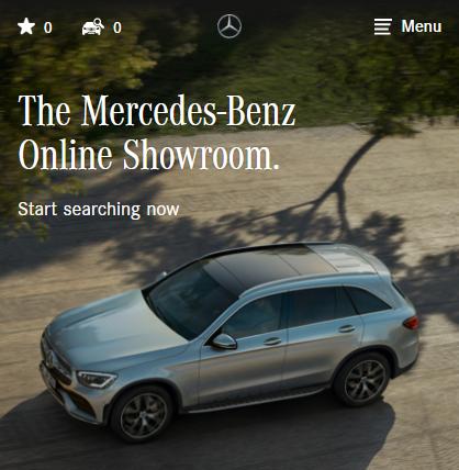 照片中提到了E Menu、The Mercedes-Benz、Online Showroom.,跟梅賽德斯·奔馳有關,包含了懇求我、運動型多功能車、汽車