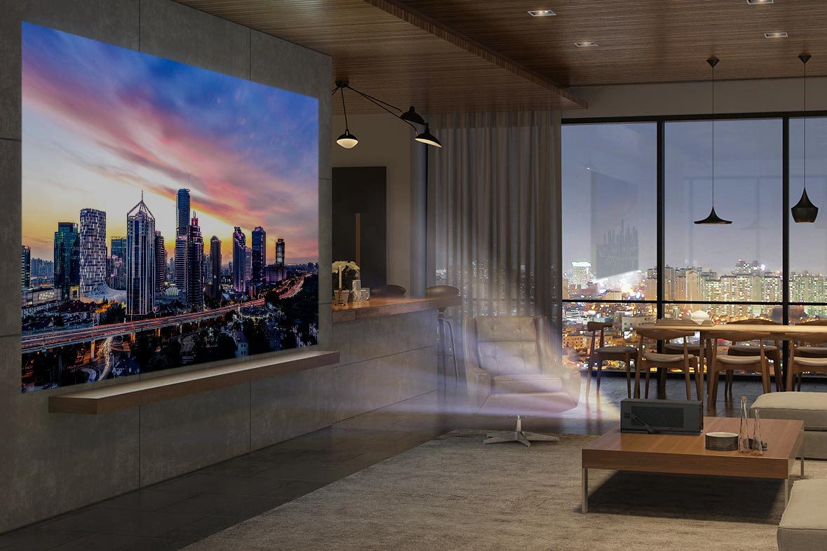Multimedia Projectors, 4K resolution, Ultra-high-definition television, Smart TV, Home Theater Systems, Television, Projector, LG Electronics, , Laser projector, architecture, architecture, interior design, condominium, apartment, real estate, window, lobby, building, penthouse apartment