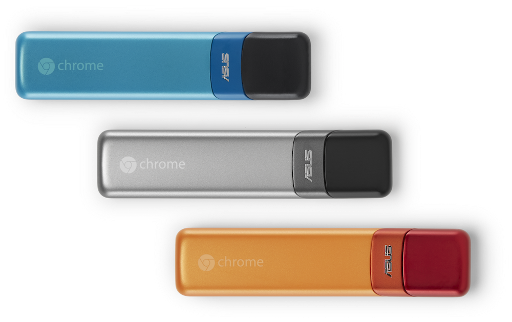 是華碩再添兩款 Chromebook 產品,為 Chromebook Flip 、另一為電視棒設計的 Chromebit這篇文章的首圖