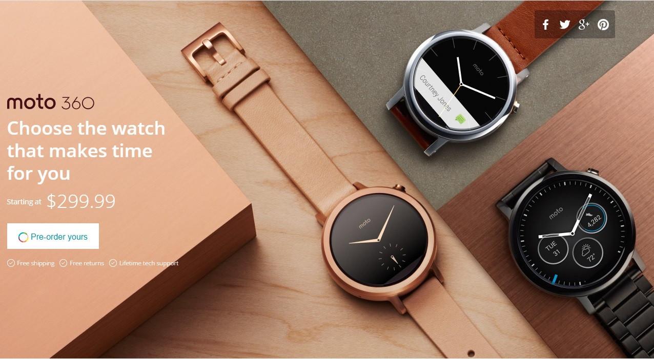 是Motorola 360 第二代登場,維持圓形錶面並提供 42mm 、 46mm 雙尺吋這篇文章的首圖