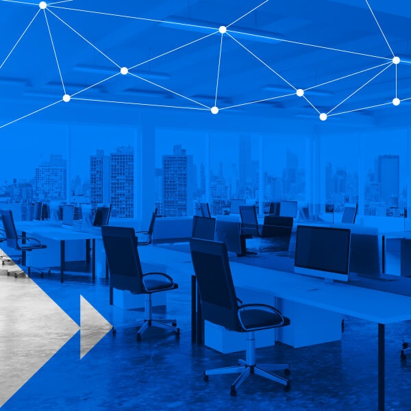 Office, Open plan, Business, Cubicle, Design, Plan, Conference Centre, Office space planning, Room, Desk, open space office room plan, blue, architecture, light, sky, furniture, line, chair, table, angle, interior design