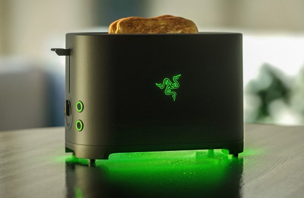 Razer Inc., , Toaster, Toast, Gamer, Computer keyboard, Video Games, Computer mouse, April Fool's Day, Joke, razer toaster, Green, Toaster, Small appliance, Home appliance