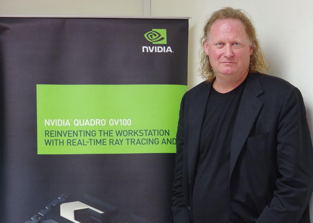 照片中提到了NVIDIA.、NVIDIA QUADRO GV100、REINVENTING THE WORKSTATION,跟英偉達有關,包含了英偉達、商業、公共關係、通訊、綠色