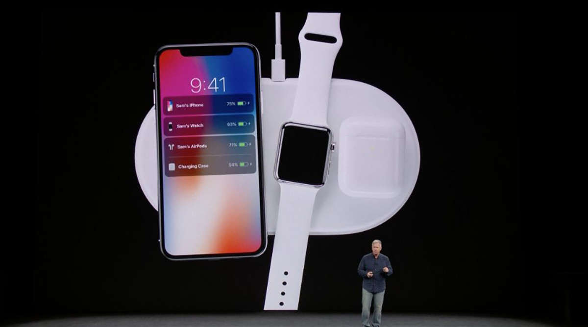 AirPower, iPhone X, AirPods, Battery charger, Inductive charging, Apple, , Qi, Apple iPhone 8 Plus, Apple Watch Series 3, apple air power, Product, Gadget, Ipod, Technology, Electronic device, Smartphone, Mobile phone, Electronics, Portable media player, Communication Device