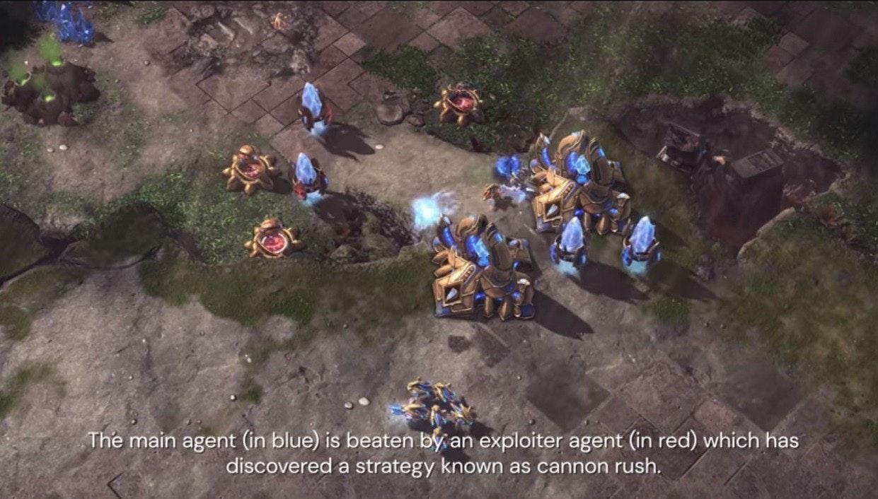 照片中提到了The main agent (in blue) is beaten by an exploiter agent (in red) which has、discovered a strategy known as cannon rush.,包含了遊戲、地形、生物群系、地質學、景觀