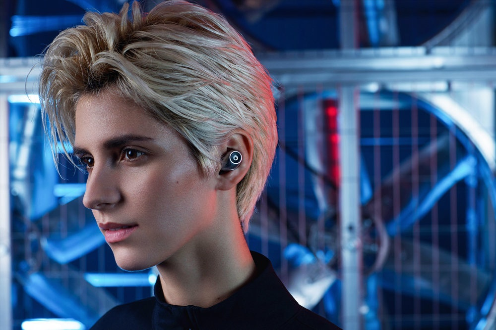 crazybaby Air, Headphones, Wireless, CrazyBaby Air Nano Earbuds, True Wireless In-ear Headphones, Écouteur, Bluetooth, Virtual surround, In-ear monitor, The Morph TREK Collapsible Travel Foam Roller by Brazyn Life, crazybaby Air, Hair, Face, Blue, Hairstyle, Blond, Electric blue, Eyebrow, Chin, Beauty, Lip