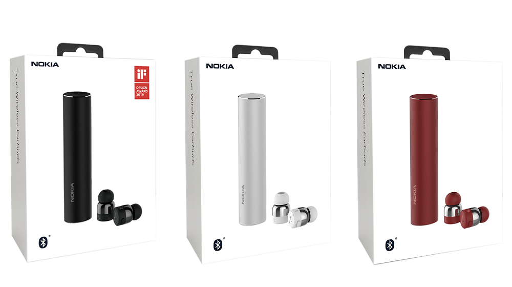 Nokia True Wireless In-Ear Headphones, , Nokia, Headphones, Smartphone, Red, True Wireless Earbuds, HMD Global, Silver, Wireless, hardware, Product, Cylinder, Technology, Electronic device, Gadget