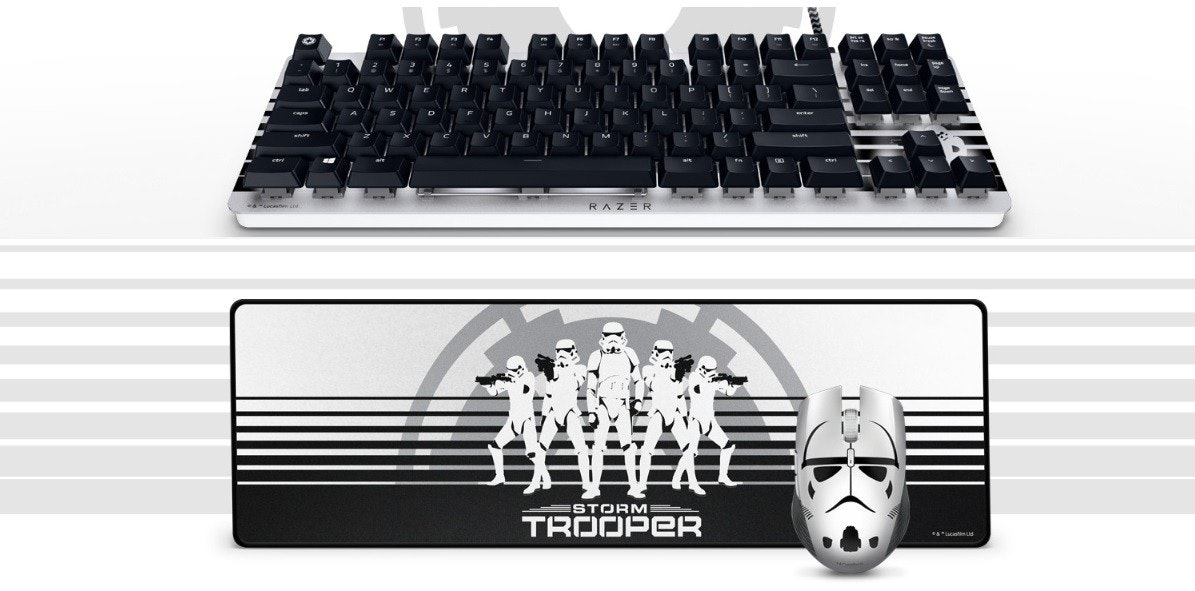 Stormtrooper, Razer Inc., , Star Wars, Peripheral, Computer mouse, Computer keyboard, Video Games, Computer hardware, Razer BlackWidow, multimedia, Computer keyboard, Technology, Electronic device, Font, Numeric keypad, Office equipment, Space bar, Metal, Input device