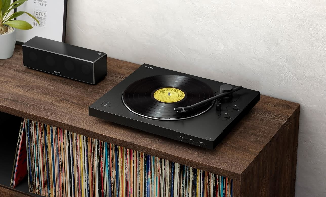 Sony Corporation, , Sony PS-LX310BT Stereo Turntable with Bluetooth, Turntable, Loudspeaker, Sony, Phonograph, Bluetooth, Wireless, Sony PlayStation, sony lx310bt, Record player, Electronics, Technology, Media player, Dvd player, Room, Electronic device, Audio equipment, Wood, Cd player