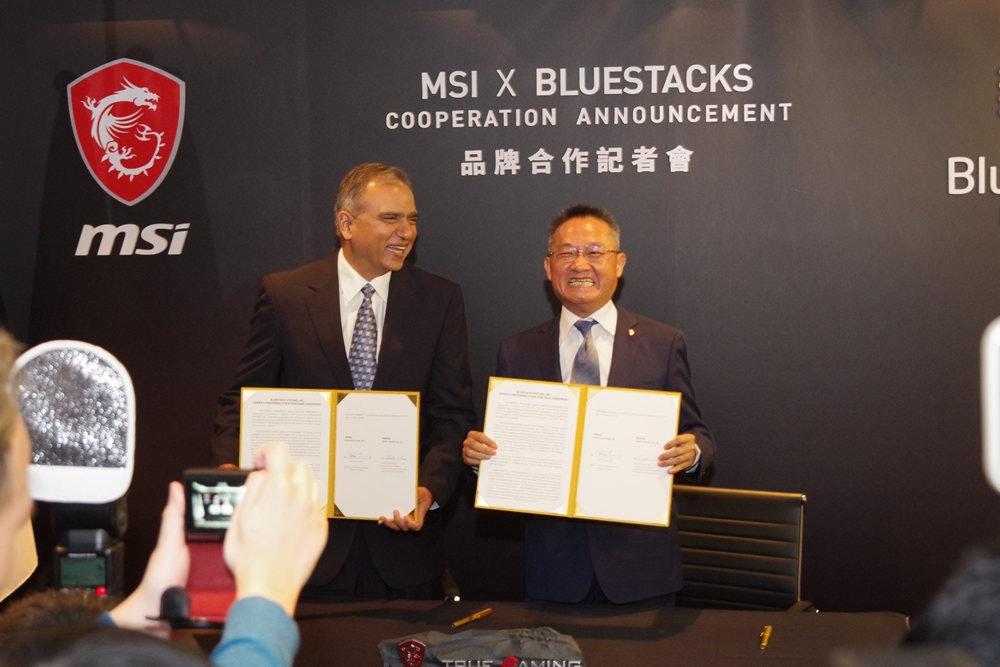 照片中提到了MSI X BLUESTACKS、COOPERATION ANNOUNCEMENT、品牌合作記者會,跟微星國際有關,包含了msiЛоготип、商業、公共關係、通訊、業務發展